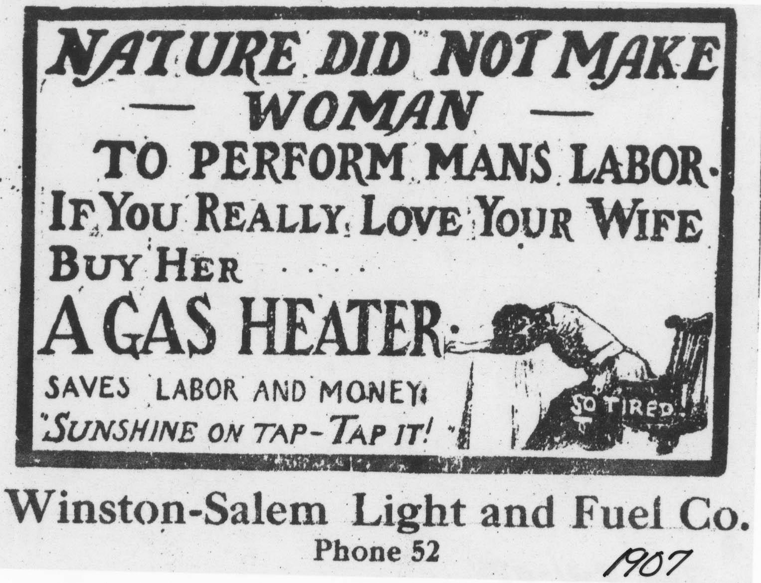 advertising for women in the early 1900s winstonsalem